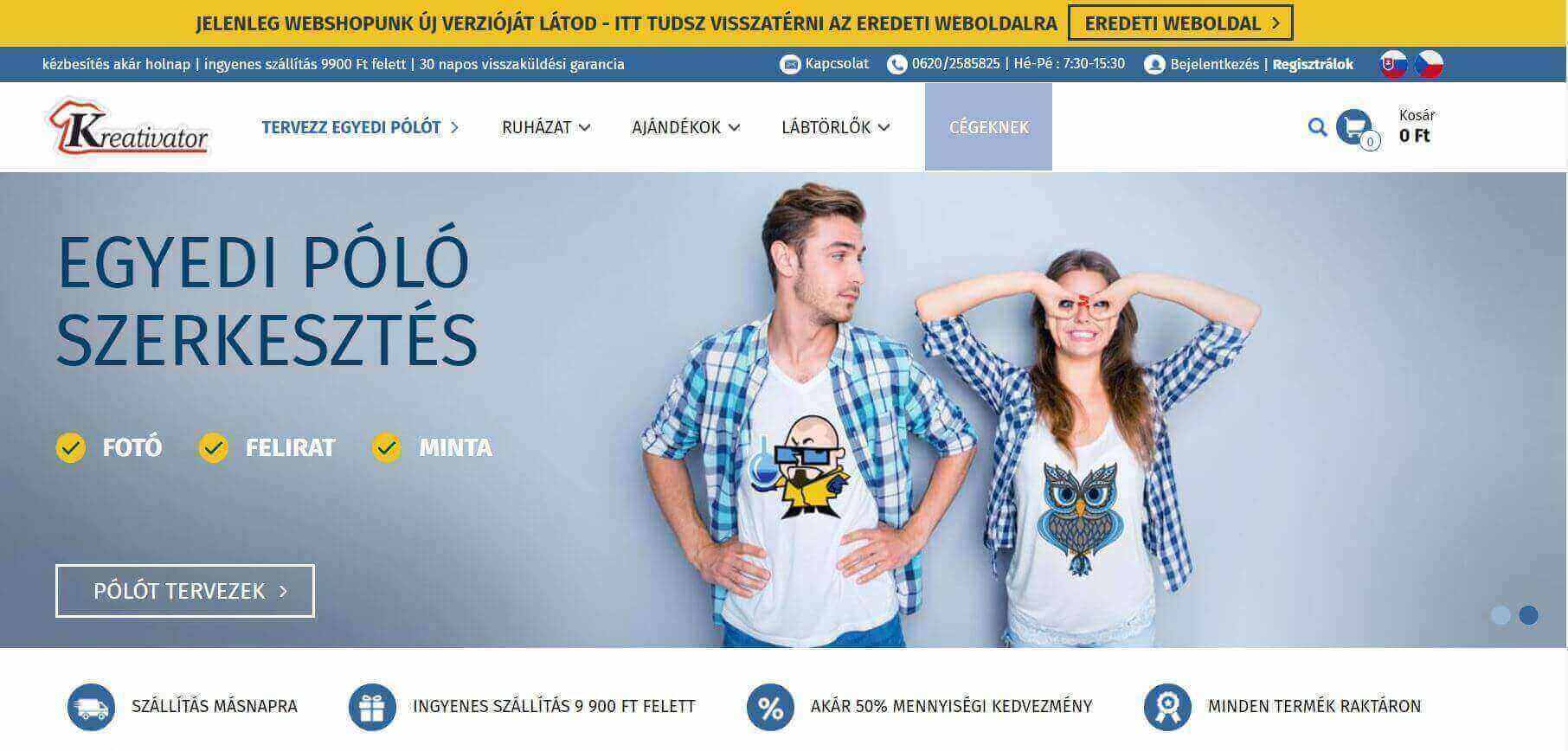 Online póló tervezés a Kreativatorral
