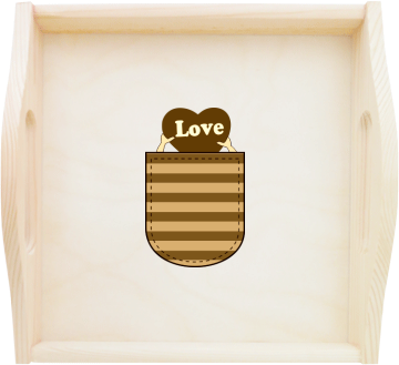 Love Pocket Personalised Square Wooden Tray With Handles Kreativator
